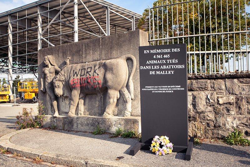 Des militant-e-s antispécistes dressent un mémorial aux animaux sans autorisation